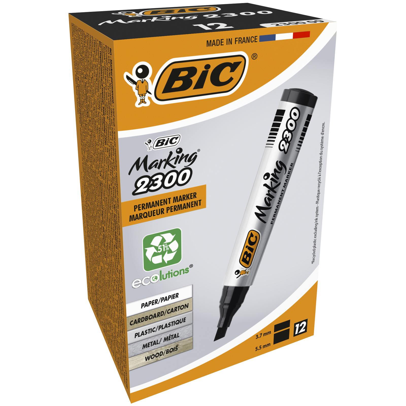 BIC MARKING 2300 - Pack de 12 marqueurs permanents - pointe biseau - noir