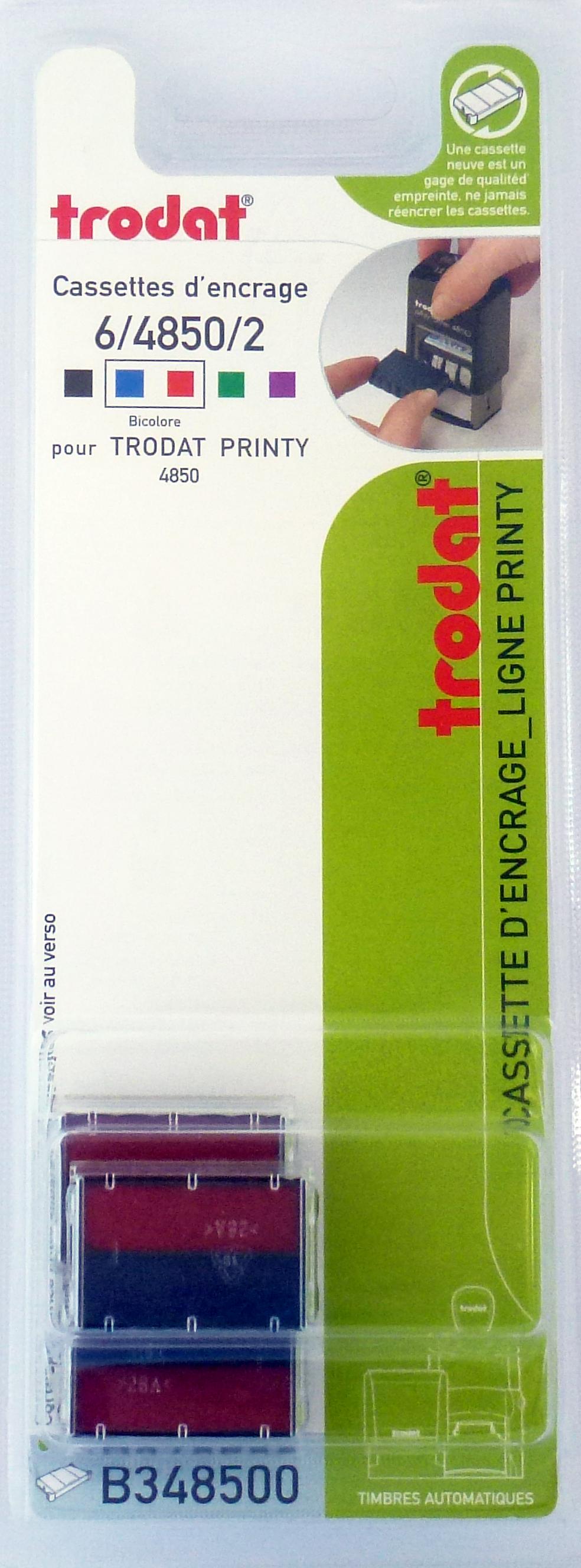 Trodat - 3 Encriers bicolores 6/4850 recharges pour tampon Printy 4850 - bleu/rouge