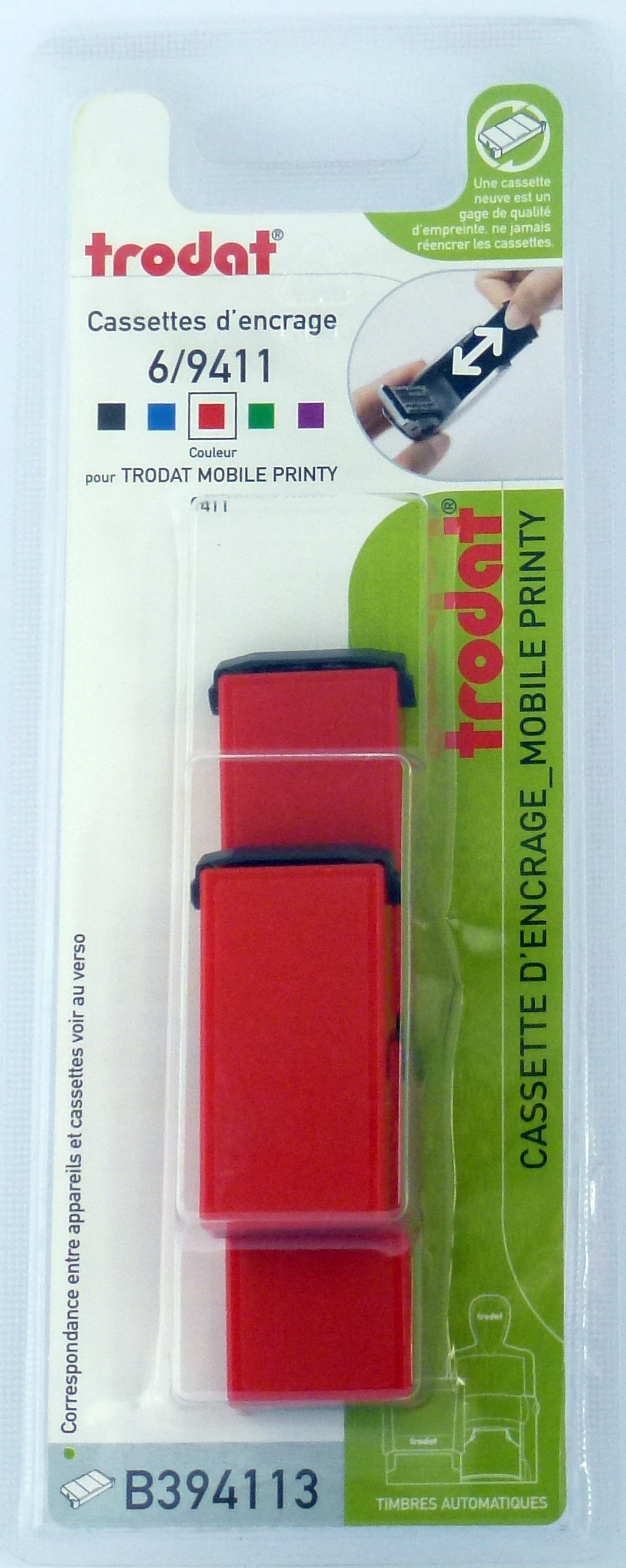 Trodat - 3 Encriers 6/9411 recharges pour tampon Mobile Printy 9411 - rouge