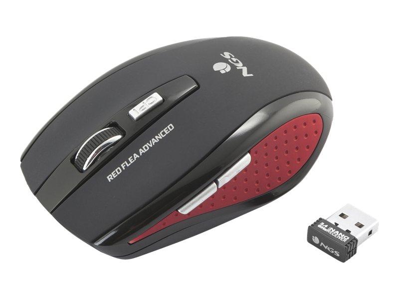 NGS Red Flea Advanced - souris sans fil - noire et rouge